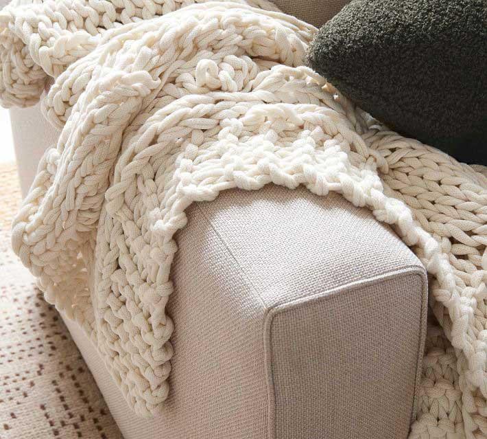 White Knit Throw