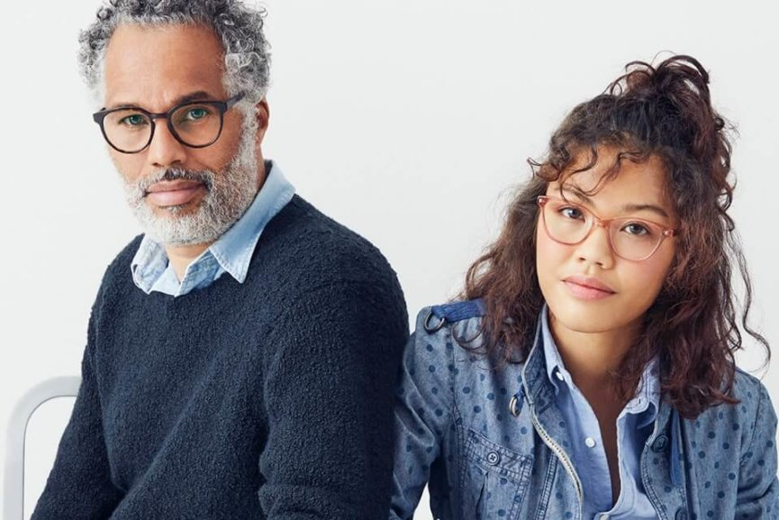 Man and woman in glasses